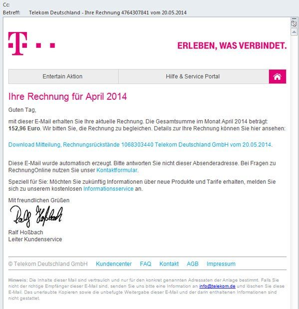 Warnung Vor Phishing Mails Im Telekom Look Multimedia Volat