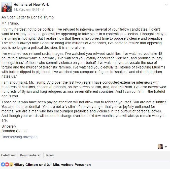 Offener Brief An Donald Trump Ist Meistgeteilter Facebook Beitrag