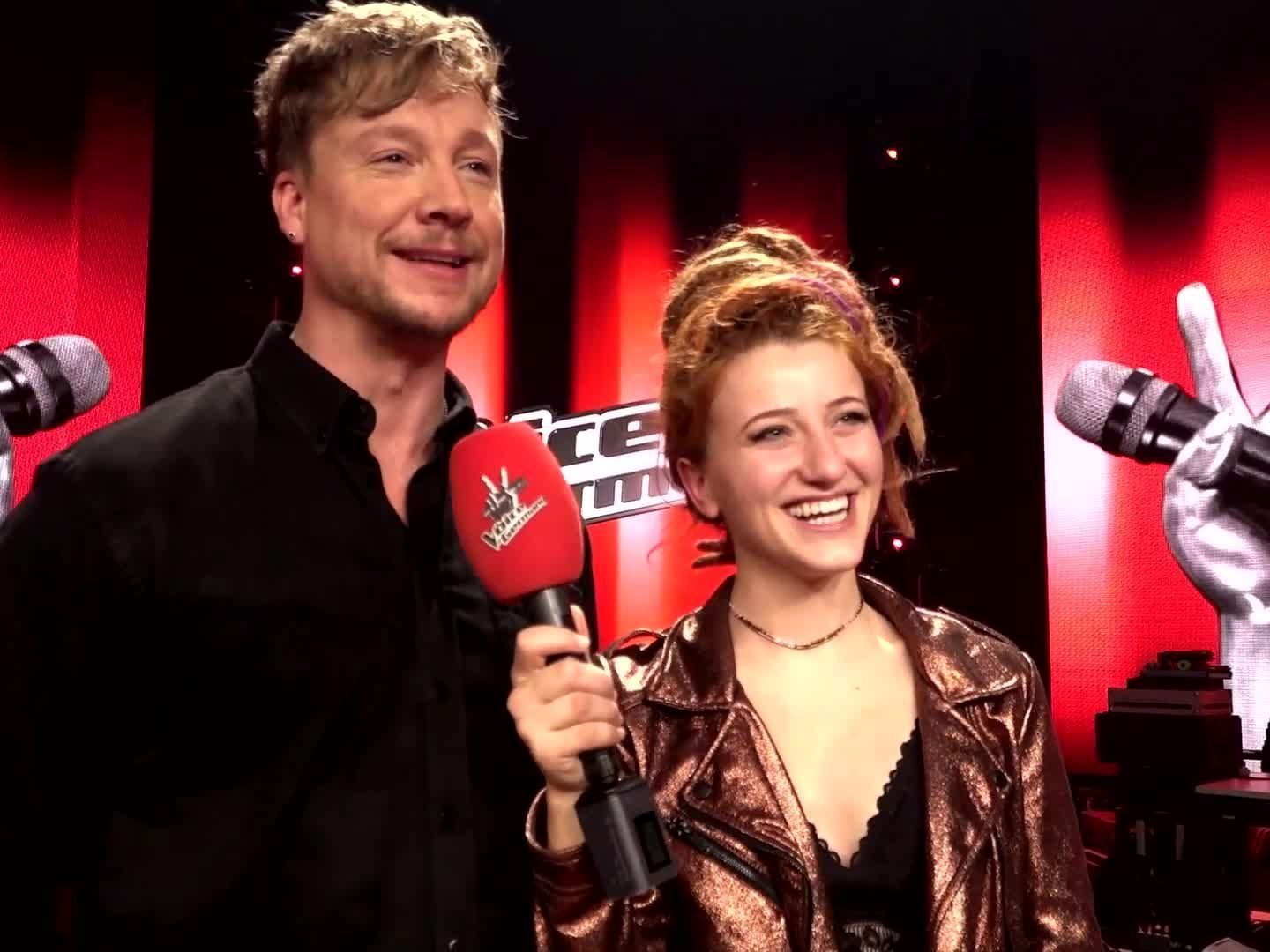 Samu Haber mit Natia, Gewinnerin von The Voice of Germany 2017.