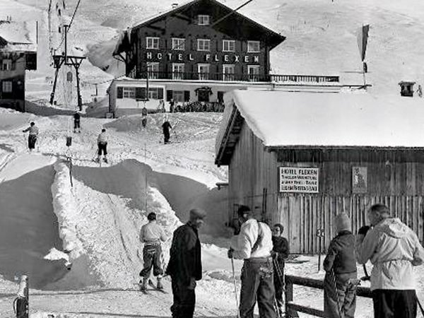 Skilift am Übungshang in Zürs, 1938