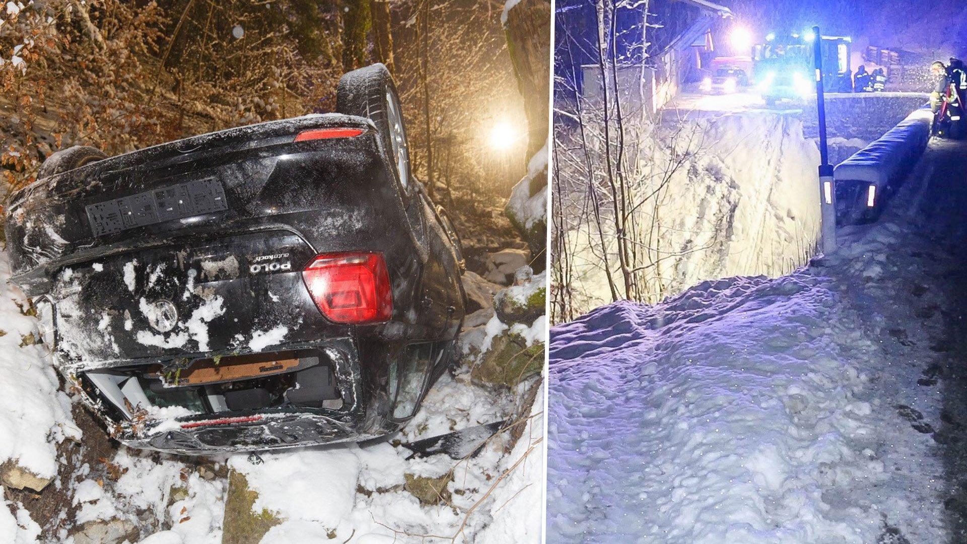 Vorarlberg: Unfall in Sonntag - Auto stürzt 30 Meter ab