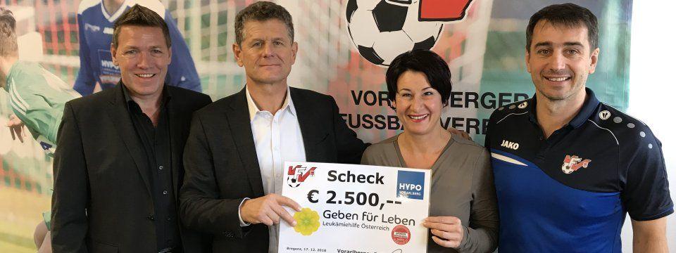 Fußballverband spendet 2500 Euro an Geben für Leben