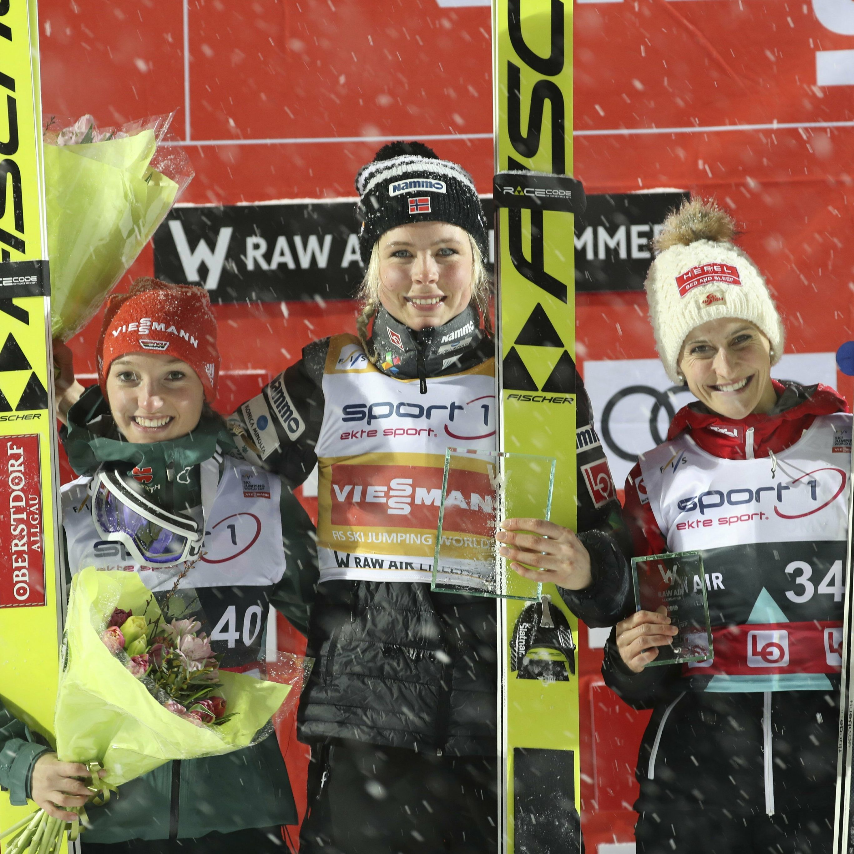 From left, second place Katharina Althaus (GER), first placed Maren Lundby (NOR) and third placed Eva Pinkelnig (AUT