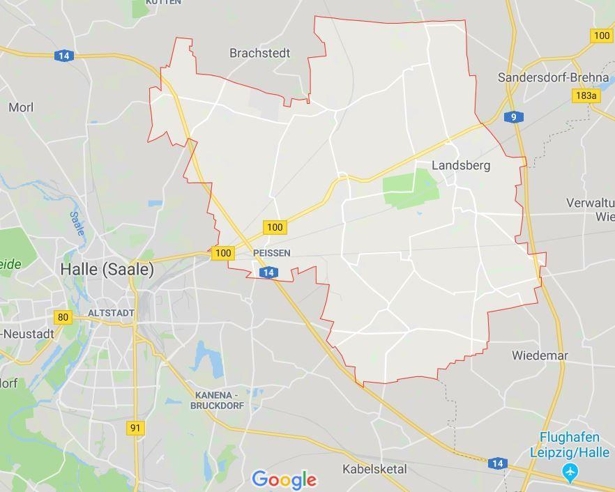 Halle und Landsberg liegen nur wenige Kilometer entfernt- Screenshot von Google Maps