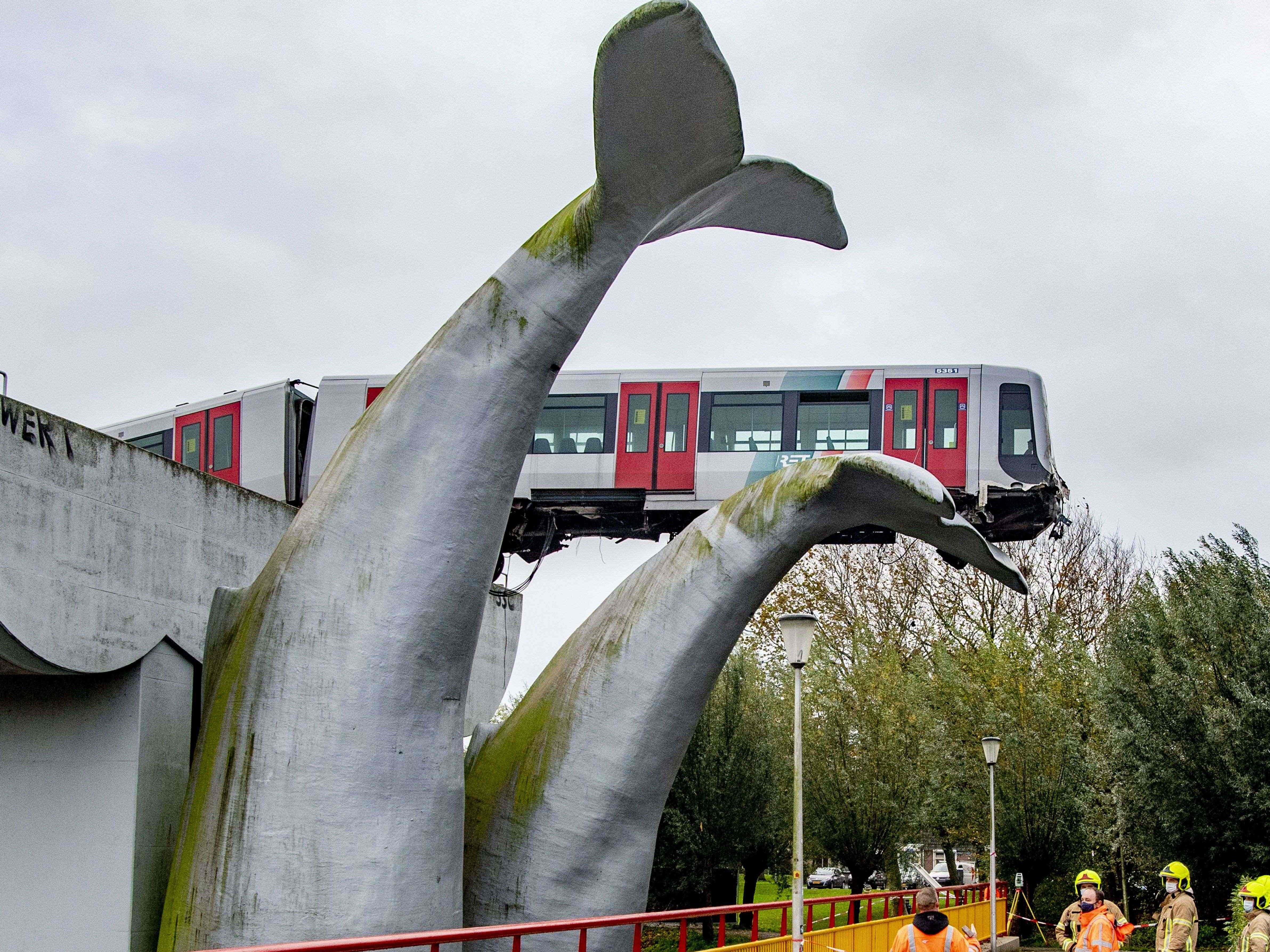 Unfall in den Niederlanden: Metro stoppt erst auf Kunstwerk