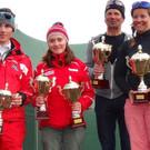 Die Tagessieger der Snowboard-und Skiwertung. - Die Tagessieger der Snowboard-und Skiwertung.